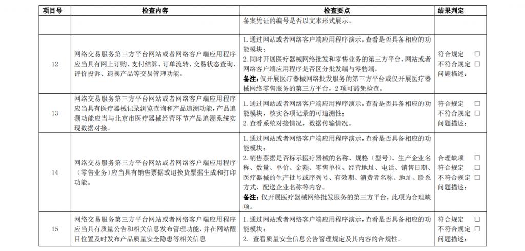 《北京市医疗器械网络交易服务第三方平台现场检查评定细则(试行)》